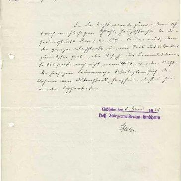 Dokument 1 über den Schlossbrand von 1929