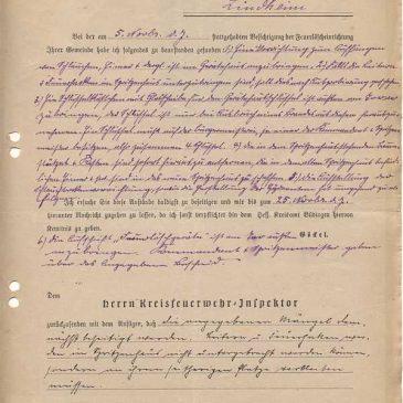 Bericht des Kreisfeuerwehrinspektors über eine Besichtigung des Spritzenhauses vom 13.11.1929