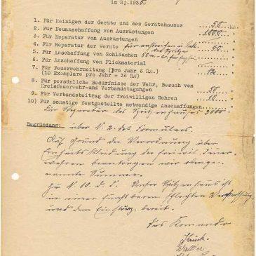Beantragte Feuerwehrausgaben im Jahr 1935