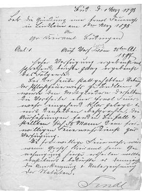 Brief des Kreisbrandinspektors an das Kreisamt Büdingen